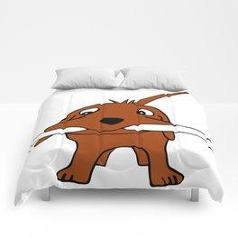 Dog with bone Comforters