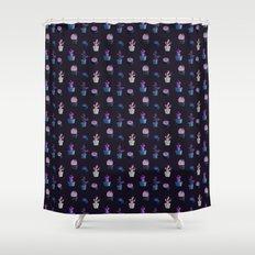 Dark Purple And Blue Cactus Pattern Shower Curtain