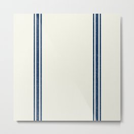 Vintage Country French Grainsack Blue Stripes Cream Background Metal Print