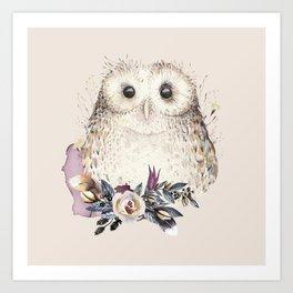 Boho Illustration- Be Wise Little Owl Art Print