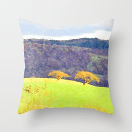 Two illuminated trees at Sunset near Coniston, Lake District, UK Throw Pillow