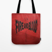 daenerys Tote Bags featuring House Targaryen - Fire and Blood by Jack Howse