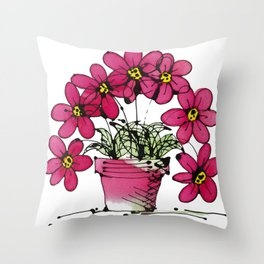 Seven Flowers (Pink): gorgeously simple original art, vibrant flowers in a pot Throw Pillow
