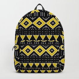 Mudcloth Style 2 in Black and Yellow Backpack