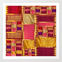 """Exotic fabric, ethnic and bohemian style, patches"" Art Print"