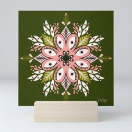 Psychedelic Mandala – Sage & Pink Mini Art Print