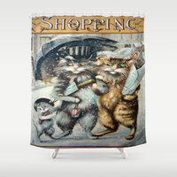 shopping Shower Curtains featuring Shopping by Frankie Cat