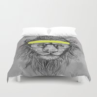 lion Duvet Covers featuring hipster lion by Balazs Solti