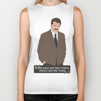 ron swanson Biker Tanks featuring Ron Swanson by Jack Cruden