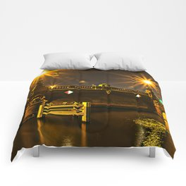 Night on the Moltke-Bridge in Berlin Comforters