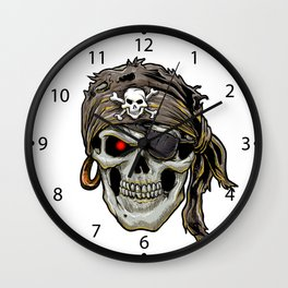 pirate skull with black bandana Wall Clock
