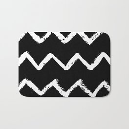 Chevron Stripes White on Black Bath Mat