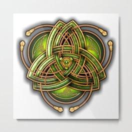 Emerald Celtic Triquetra Knot Metal Print
