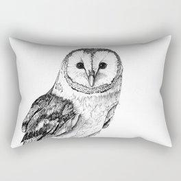 Barn Owl - Drawing In Black Pen Rectangular Pillow