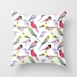 Watercolor spring birds Throw Pillow