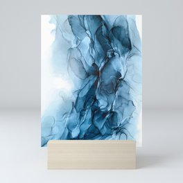 Deep Blue Flowing Water Abstract Painting Mini Art Print