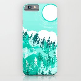 Green forest and mountain with white moon iPhone Case