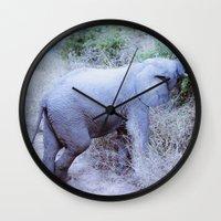 baby elephant Wall Clocks featuring Baby Elephant by Mary Grace