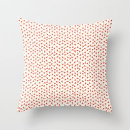 Ditsy Floral - Coral and Green on White Throw Pillow