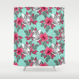 Stylish leopard and cactus flower pattern Shower Curtain