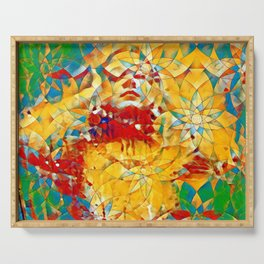 6759s-KMA The Woman in the Stained Glass Sensual Feminine Energy Emerging Serving Tray