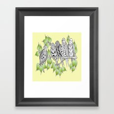 Friendly Zentangle Birds Enjoying the Sunshine Framed Art Print