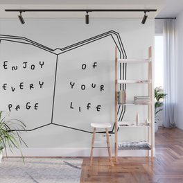 Enjoy Every Page Of Your Life - book illustration inspirational quote Wall Mural