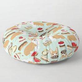 Corgi Patisserie Bakery French Parisian food, tarts, eclair, napoleon, cute food design Floor Pillow