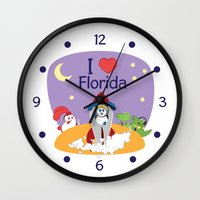 coraline Wall Clocks featuring Ernest and Coraline | I love Florida by Hisame Artwork