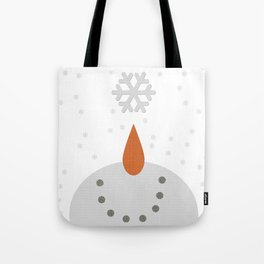 Snowman catching snowflakes on his face Tote Bag