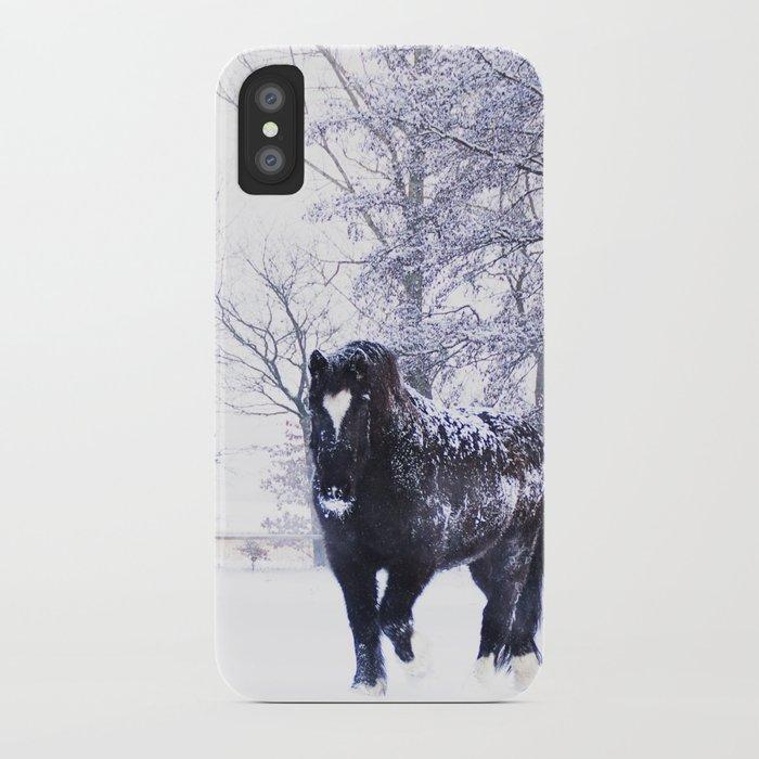 Black beauty horse in winter landscape iPhone Case