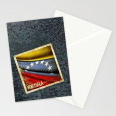 Grunge sticker of Venezuela flag Stationery Cards