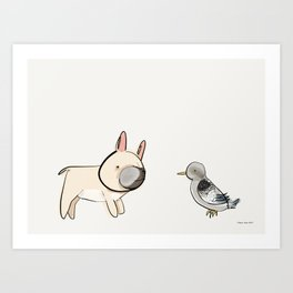 George the Frenchie and a NYC Pigeon Art Print