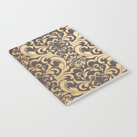 Gold swirls damask #1 Notebook