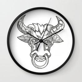 Pinzgauer Bull Head Front Doodle Art Wall Clock