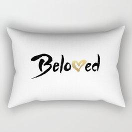 Beloved - Black & Gold Rectangular Pillow