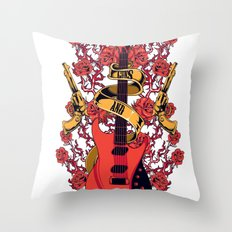 Guns and roses Throw Pillow
