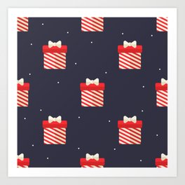 Red Christmas Gift Pattern Art Print