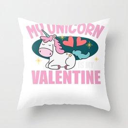 Unicorn Valentine's Day Sweet Love Single Gift Throw Pillow