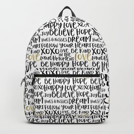Inspirational Words Black and Gold Backpack