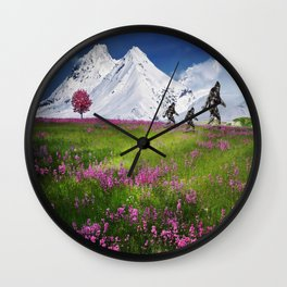 Bigfoot Mountain Meadow Wall Clock