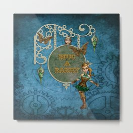 Steampunk Faeries Metal Print