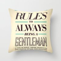 gentleman Throw Pillows featuring Gentleman! by ALLGOLD Creative