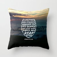 shield Throw Pillows featuring SHIELD by Pocket Fuel