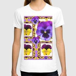 ASYMMETRICAL SPRING PURPLE & YELLOW PANSIES  ART T-shirt