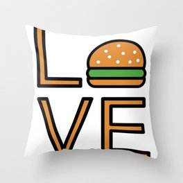 Love Burgers Very Cute And Funny Love Gift Idea Throw Pillow