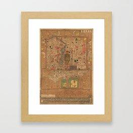 Vintage Map of Beijing China (1914) Framed Art Print