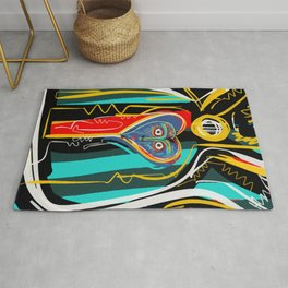 Blue heart Street Art Graffiti Rug