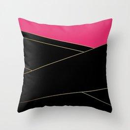 Angelica . Raspberry , black Throw Pillow