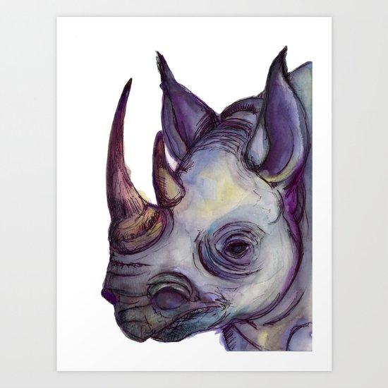 Rhino Blues Art Print